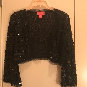 Betsey Johnson Sequin bolero shrug jacket